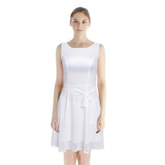 Sleeveless Waist Tie Chiffon Dress