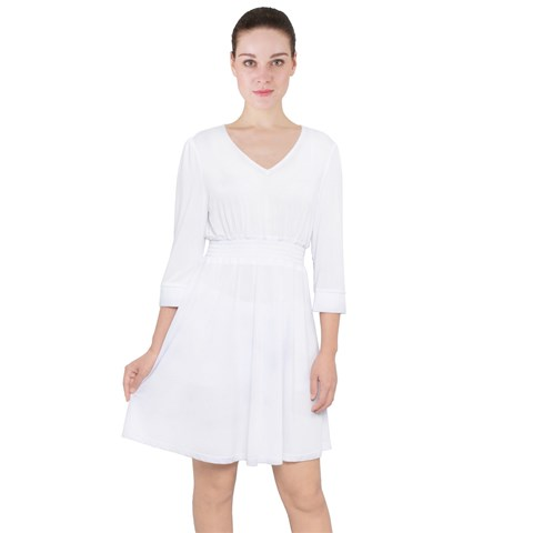 Quarter Sleeve Ruffle Waist Dress