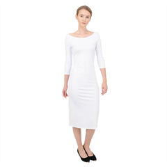 Quarter Sleeve Midi Bodycon Dress