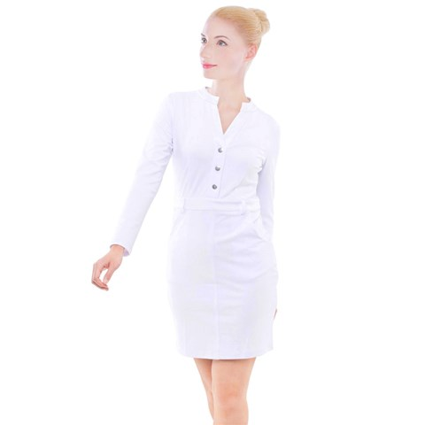 Button Long Sleeve Dress
