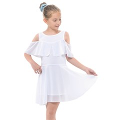 Kids  Shoulder Cutout Chiffon Dress