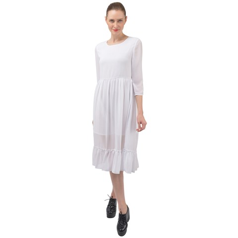Ruffle End Midi Chiffon Dress