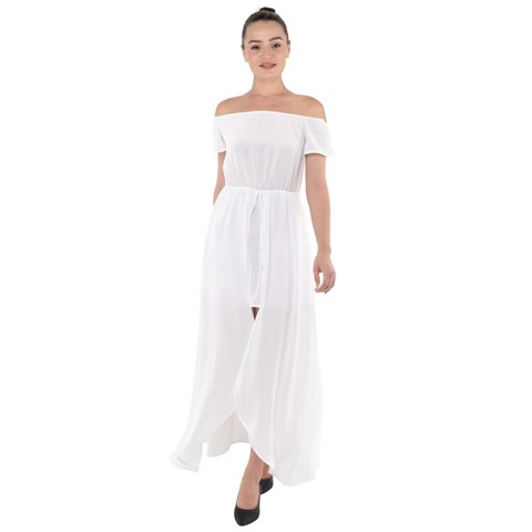 Off Shoulder Open Front Chiffon Dress