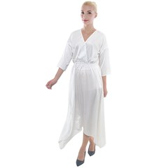 Quarter Sleeve Wrap Front Maxi Dress