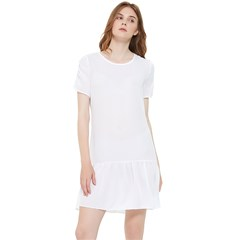 Short Sleeve Drop Hem Chiffon Dress