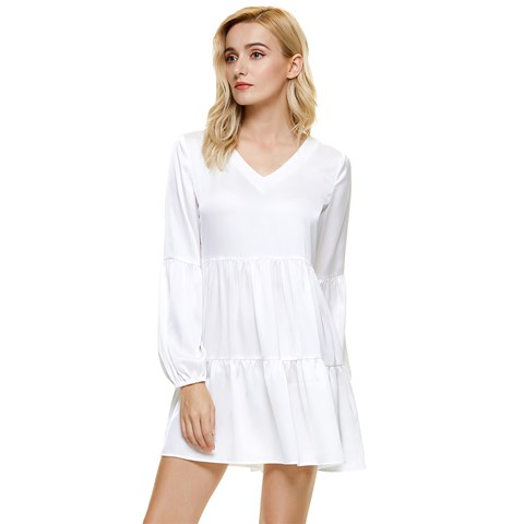 Tiered Long Sleeve Mini Dress