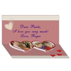 Twin Heart Bottom 3D Greeting Card (8x4)