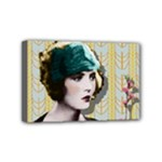 Art Deco Woman in Green Hat Mini Canvas 6  x 4  (Stretched)