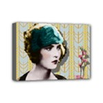 Art Deco Woman in Green Hat Mini Canvas 7  x 5  (Stretched)