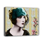 Art Deco Woman in Green Hat Canvas 10  x 8  (Stretched)