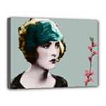 Art Deco Woman in Green Hat Canvas 16  x 12  (Stretched)