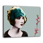 Art Deco Woman in Green Hat Canvas 20  x 16  (Stretched)