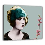 Art Deco Woman in Green Hat Canvas 24  x 20  (Stretched)