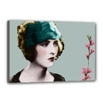 Art Deco Woman in Green Hat Canvas 18  x 12  (Stretched)