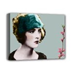 Art Deco Woman in Green Hat Deluxe Canvas 14  x 11  (Stretched)