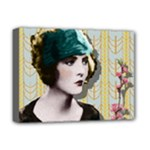 Art Deco Woman in Green Hat Deluxe Canvas 16  x 12  (Stretched)