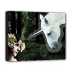 Girl & Her Unicorn Deluxe Canvas 20  x 16  (Stretched)