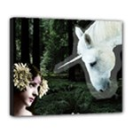 Girl & Her Unicorn Deluxe Canvas 24  x 20  (Stretched)