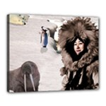 Eskimo Scene Canvas 20  x 16  (Stretched)