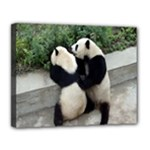 Let Me Kiss You Pandas In Love Canvas 14  x 11  (Stretched)