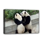 Let Me Kiss You Pandas In Love Deluxe Canvas 18  x 12  (Stretched)