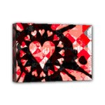 Love Heart Splatter Mini Canvas 7  x 5  (Stretched)