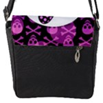 Pink Polka Dot Bow Skull Flap closure messenger bag (Small)