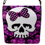 Pink Polka Dot Bow Skull Removable Flap Cover (Small)