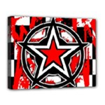 Star Checkerboard Splatter Canvas 14  x 11  (Stretched)