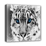 Animal Leopard In Snow Mini Canvas 8  x 8  (Stretched)