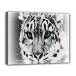 Animal Leopard In Snow Canvas 14  x 11  (Stretched)