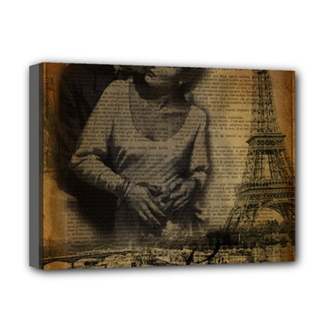 Romantic Kissing Couple Love Vintage Paris Eiffel Tower Deluxe Canvas 16  X 12  (framed)