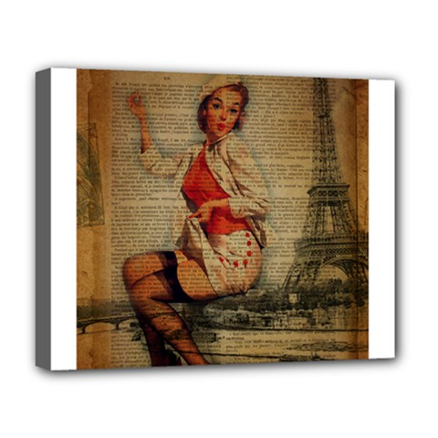 Vintage Newspaper Print Pin Up Girl Paris Eiffel Tower Funny Vintage Retro Nurse  Deluxe Canvas 20  X 16  (framed)