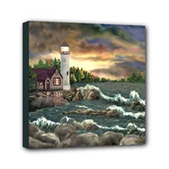 David s Lighthouse  - Ave Hurley - Mini Canvas 6  x 6  (Stretched)