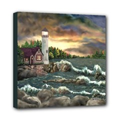 David s Lighthouse - Ave Hurley -  Mini Canvas 8  x 8  (Stretched)