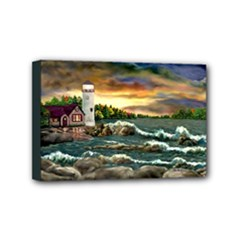 David s Lighthouse ~ Ave Hurley -  Mini Canvas 6  x 4  (Stretched)