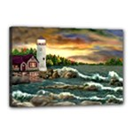 David s Lighthouse -AveHurley ArtRevu.com- Canvas 18  x 12  (Stretched)