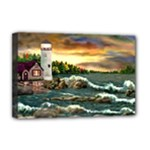 David s Lighthouse -AveHurley ArtRevu.com- Deluxe Canvas 18  x 12  (Stretched)