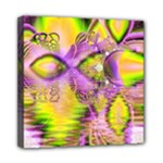 Golden Violet Crystal Heart Of Fire, Abstract Mini Canvas 8  x 8  (Framed)