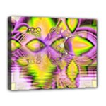 Golden Violet Crystal Heart Of Fire, Abstract Canvas 14  x 11  (Framed)