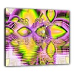 Golden Violet Crystal Heart Of Fire, Abstract Canvas 24  x 20  (Framed)