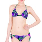 Evening Crystal Primrose, Abstract Night Flowers Bikini