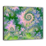 Rose Apple Green Dreams, Abstract Water Garden Canvas 20  x 16  (Framed)