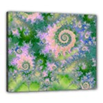 Rose Apple Green Dreams, Abstract Water Garden Canvas 24  x 20  (Framed)