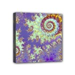 Sea Shell Spiral, Abstract Violet Cyan Stars Mini Canvas 4  x 4  (Framed)