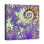 Sea Shell Spiral, Abstract Violet Cyan Stars Mini Canvas 8  x 8  (Framed)