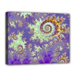 Sea Shell Spiral, Abstract Violet Cyan Stars Canvas 14  x 11  (Framed)