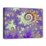 Sea Shell Spiral, Abstract Violet Cyan Stars Canvas 16  x 12  (Framed)