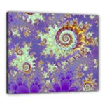 Sea Shell Spiral, Abstract Violet Cyan Stars Canvas 24  x 20  (Framed)