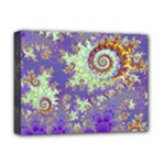 Sea Shell Spiral, Abstract Violet Cyan Stars Deluxe Canvas 16  x 12  (Framed)